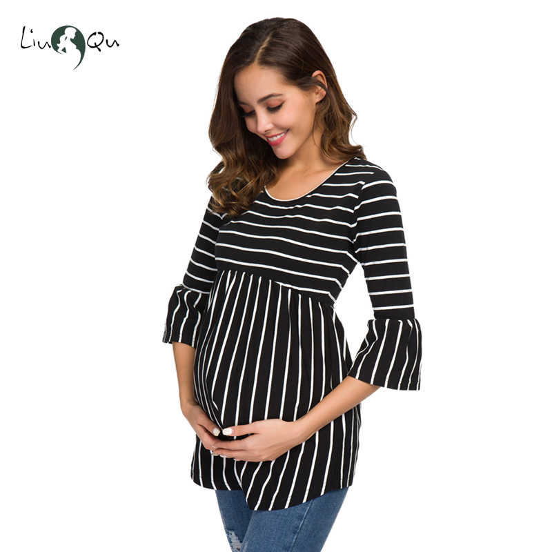 a88ca5e8f32e4 ... Ruffle Maternity Tops Loose Pregnancy Blouse Striped T-shirt Tunic 3  Quarter Casual Maternity Clothes ...