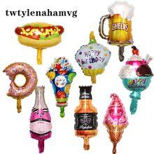 Balão laminado para decoração de festa infantil, brinquedos autoadesivos de mini rosquinha sobremesa e bolo de aniversário