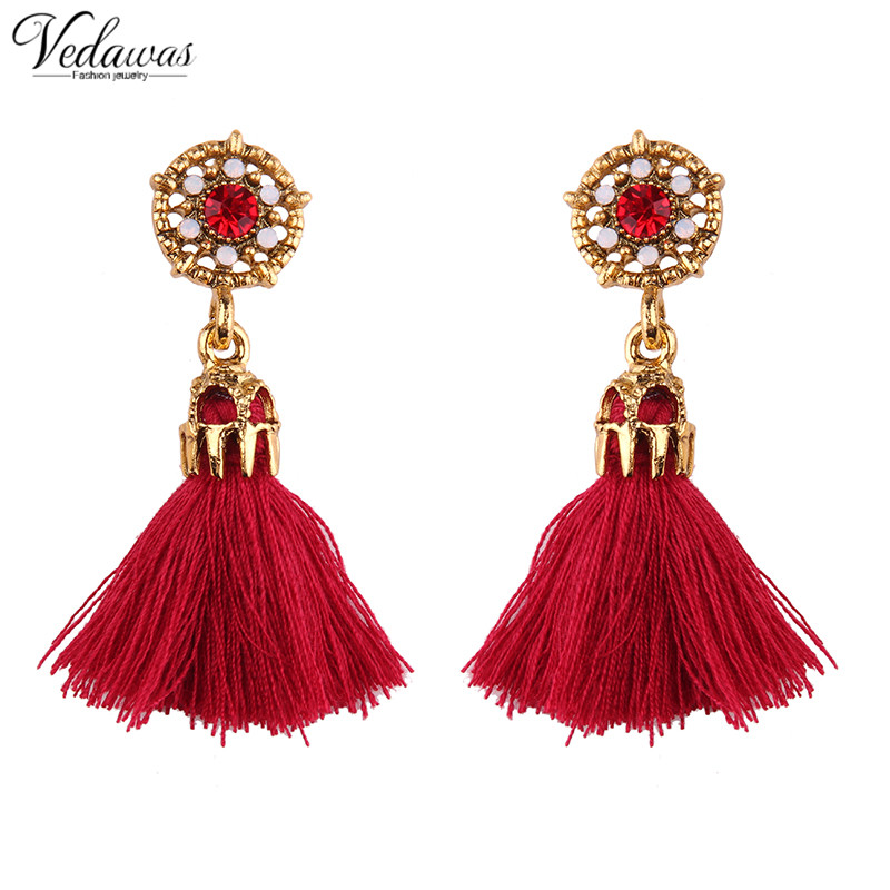 Vedawas 2017 New Arrival Luxury Careful Crystal Beads Stud Earrings for Women Multilayer Rope Tassel Earring Wholesale 1763