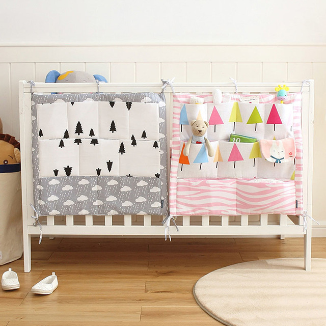 9 Pockets Baby Crib Nursery Organizer Cot Tidy Bumper Storage Bag Diaper  Stacker
