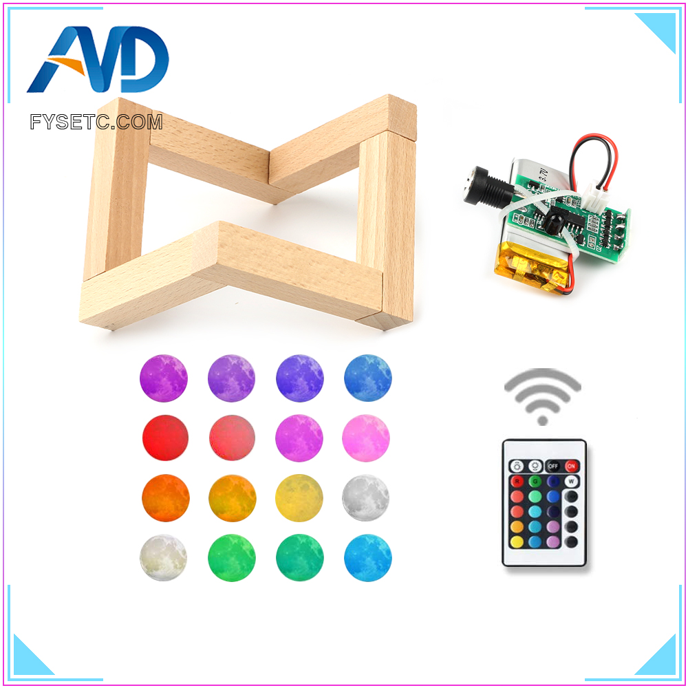 3D Printer Parts Moon Lamp Light Board 16 Colors Remote Control Night Light Circuit LED Light Source USB Charging With Battery Рюкзак