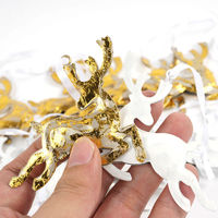 Reindeer Christmas Tree Decorations 24pcs Gold White Metal Deer Crafts Christmas Gifts Christmas Tree Ornaments For