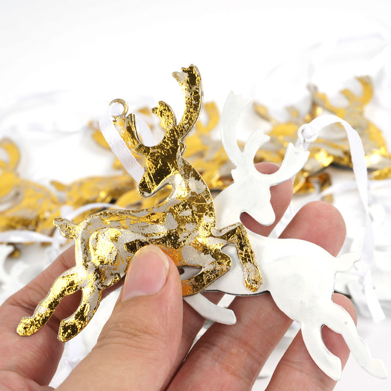 Reindeer christmas tree decorations 24pcs gold white for White and gold tree decorations