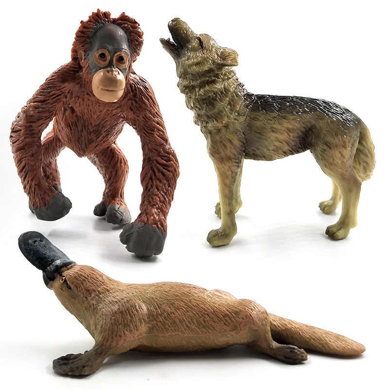 Avestruz Meerkat Ocapi Cisne Lobo Veados Porco modelo animal Crocodilo Ornitorrinco figura estatueta decoração de casa acessórios de decoração brinquedos