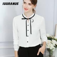 IUURANUS New Spring Autumn Tops Office Ladies Blouse Fashion Long Sleeve Bow Slim White Shirt Female Cute Bodycon Work Blouses
