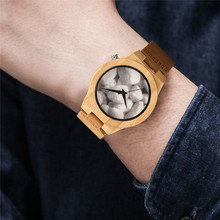 Pebble Dial Bamboo Quartz Wristwatches