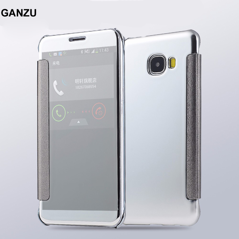 For Samsung Galaxy ON7 2016 J7 Prime Mirror Case Electroplating Clear View Smart Flip Cover For