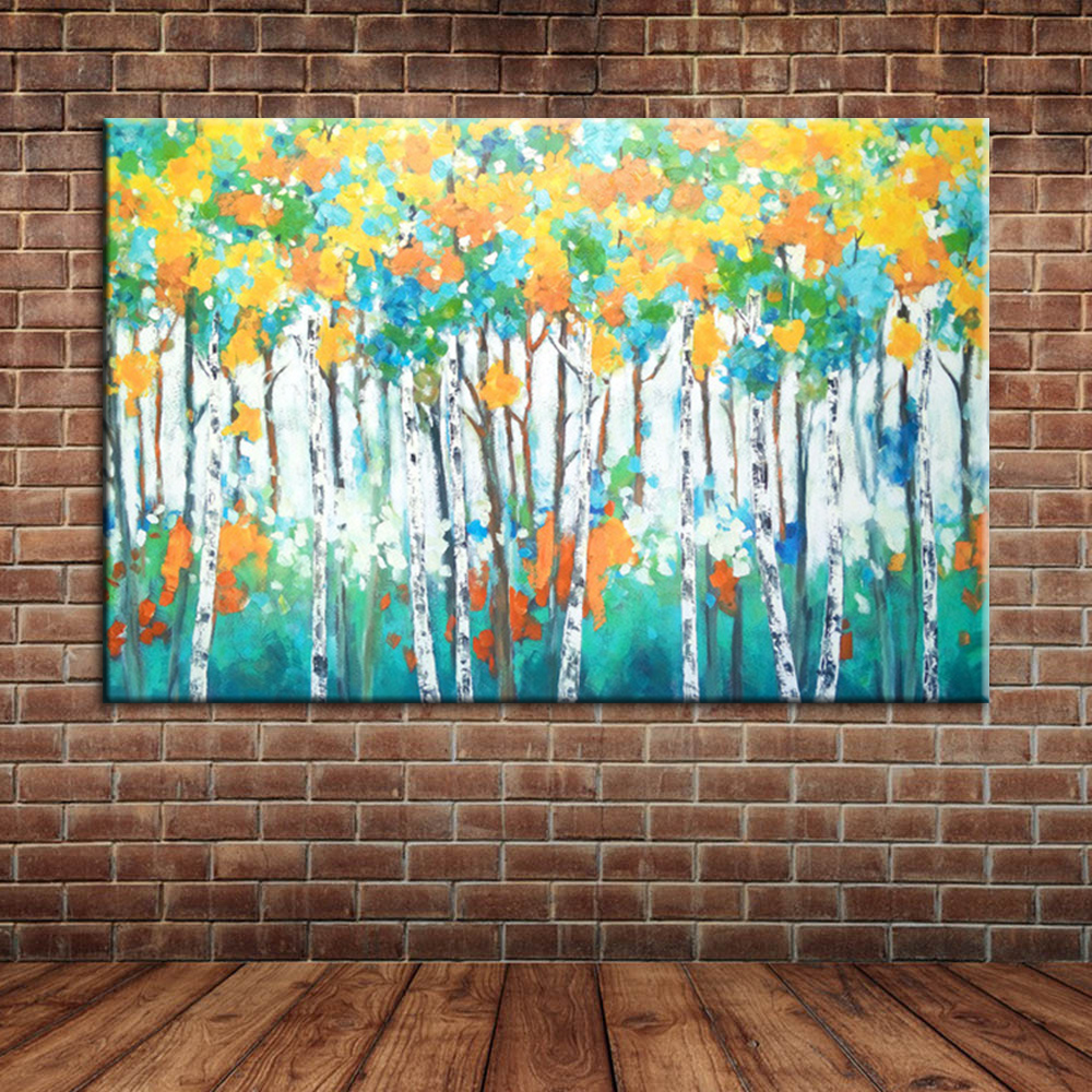 online get cheap birch forest aliexpress com alibaba group landscape birch forest oil paintings modern large wall canvas art hand painted wall mural posters decoration