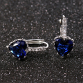 Silver Plated Earrings Blue zirconia stone heart big crystals for lady women wedding jewelry