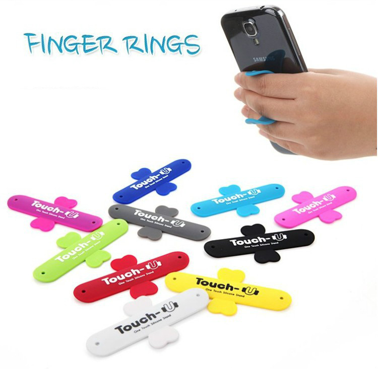Mini Touch U One Touch Silicone Stand Finger Rings Universal Portable Phone Holder For iPhone 6 5s 7 Samsung Tablet PC