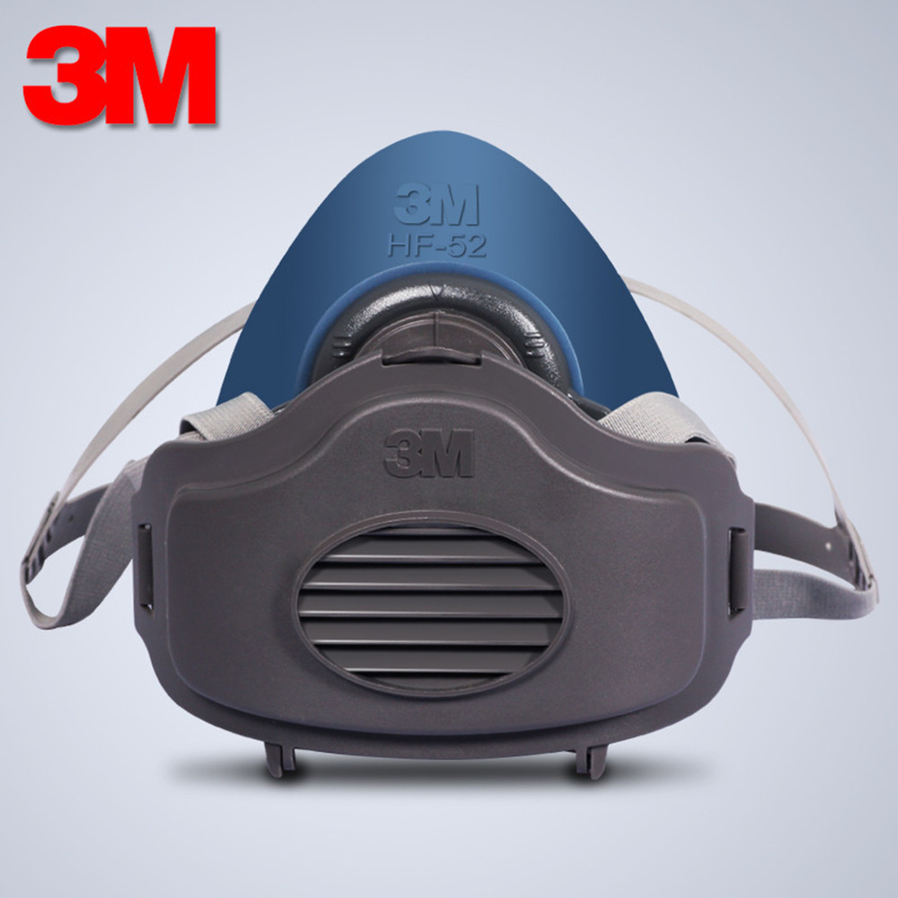 3M HF52+10pcs 3701 Filter Cotton Quality Silicone Half Face Gas Mask KN95 Dust Anti Industrial Conatruction Dust Pollen Haze