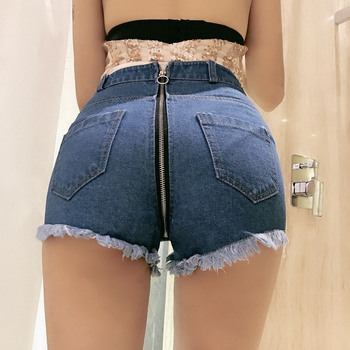 new women Sexy denim shorts zipper edge tassel washed jeans  street style nightclub high waist shorts beach summert Denim Short топ edge street edge street ed008ewysf79