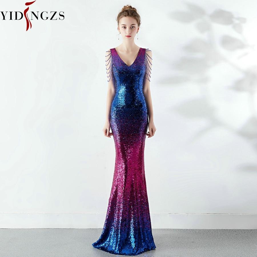 Robe De Soiree Sexy V-neck Sequins   Evening     Dress   Women Elegant Beaded Long Evenning Party   Dress