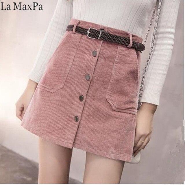 bae5e06e6ecb 2019 Spring Autumn Corduroy Skirt Ladies Fashion High Waist Skirts Women's  Casual Fashion Black Khaki Pink Mini Saias Mujer