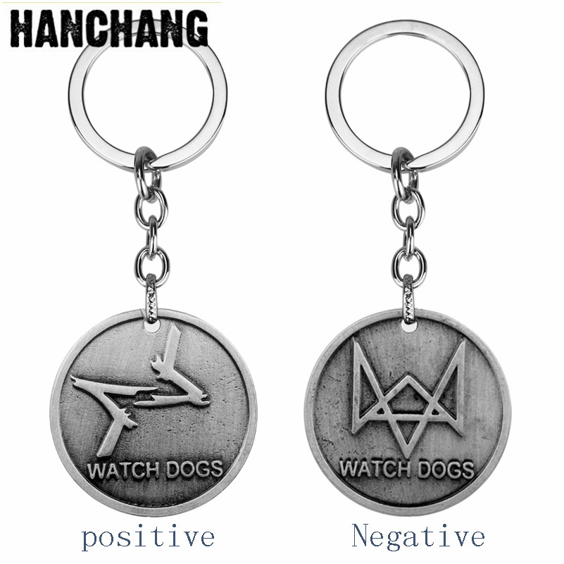 Vintage Jewelry Game Watch Dogs Alloy Keychain Watch Dods Round Keyring Men Car Accessories Key Buckle