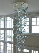 Hot Sale Murano Glass Bubble Chandelier LED Round Crystal Chandelier for Living Room Staircase Art Decoration modern simple duplex staircase led bubble column living room chandelier rotating villa ceiling crystal column led crystal lights