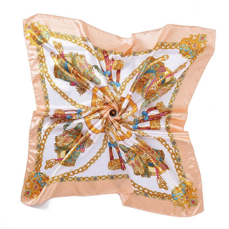 Summer Woman bandana hijab Luxury Brand Silk   Scarf   Fashion Satin Printing Square Scarfs Carriage Chain Shawl Head   Scarves     Wrap