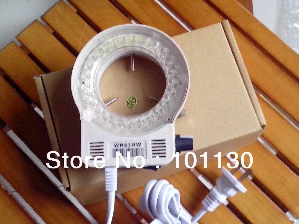 New White 56 LED Ring Lamp Brightness Adjustable Light Source for Stereo Microscope with Adapter 220V /110V Inner Diameter 63mm  цены