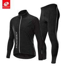 NUCKILY Winter Cycling Clothing Men Jersey Set Windproof & Rainproof Bicycle And Gel Pad Pants Bike Wear MI009