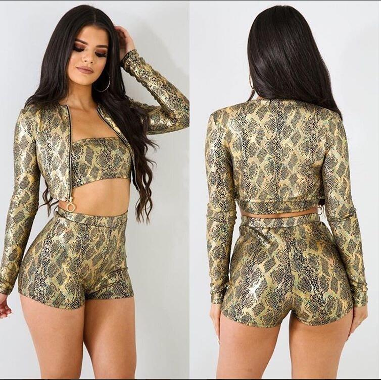 2018 new spot ebay Amazon hot three-piece digital print slim sexy print set ladies suit(China)