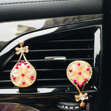 Diamond crystal car air outlet perfume clip freshener balm interior accessories female gift