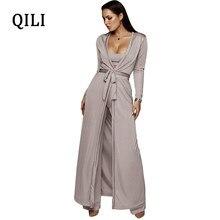 6e03e29d9086 QILI 2018 Autumn Women Long Sleeve Jumpsuits 3 piece Set Female Robe+Short  Top+