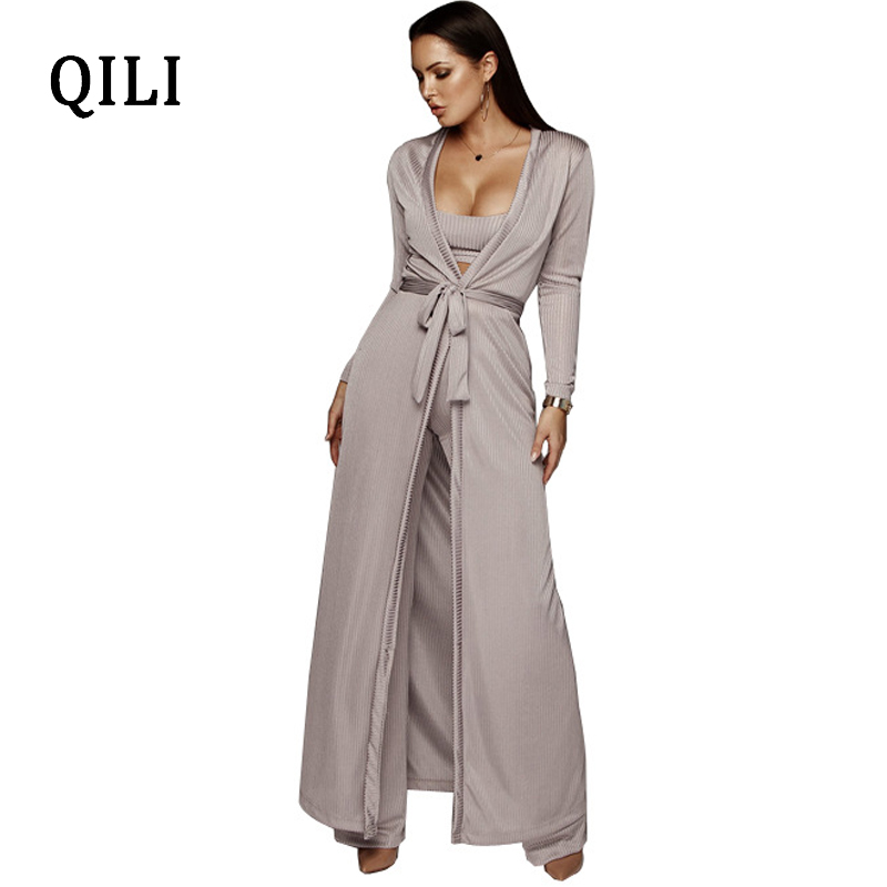 QILI 2019 Autumn Women Long Sleeve Jumpsuits 3 Piece Set Female Robe+Short Top+Wide Leg Long Pants Belted Set Solid Jumpsuits