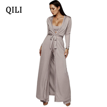 QILI 2019 Autumn Women Long Sleeve Jumpsuits 3 piece Set Female Robe+Short Top+Wide Leg Pants Belted Solid