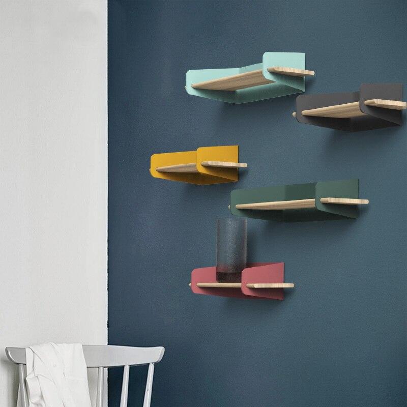 2019 Brief Wall Nordic Wall Decoration Magazine Storage Holders Racks wood Modern Design Hanger for corridor Rails bookrack - 6