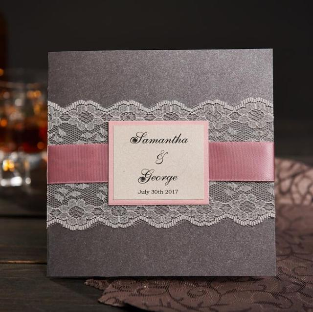 Gray Rural Handmade Wedding Invitations With Rsvp Custom Lace Birthday Party Graduation Marriage Invitation Greeting Cards