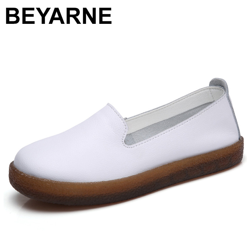 BEYARNE 2018 Spring women flats shoes women slip on flat loafers leather shoes ladies ballet flats boat shoes oxford shoes women shoes 2018 new footwear slip on ballet hollow genuine breathable soft flat shoes women comfortable loafers shoes ladies