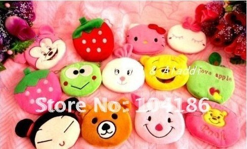 Free shipping 100pcs/lot Mix Cartoon Pouch 10*9cm Plush Coin Purse Bags Pendant Bag Handbag Coin bag Purse Pouch Wallet Pouch