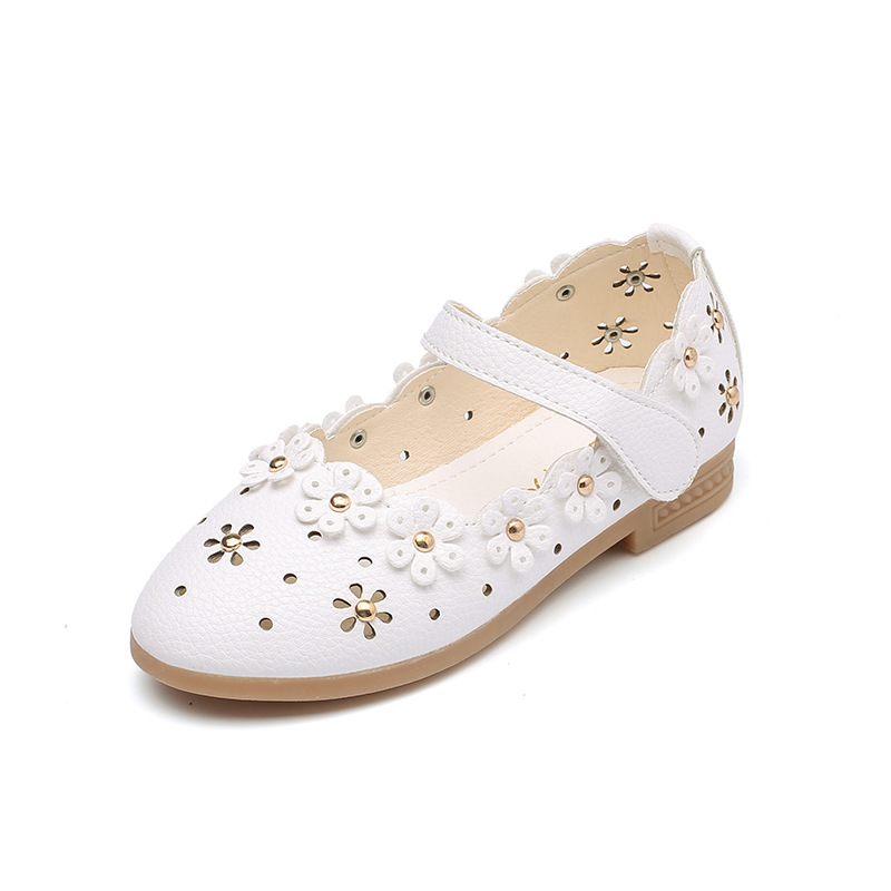 AFDSWG PU shoes for kids girls pink low heed princess white leather blue moccasins