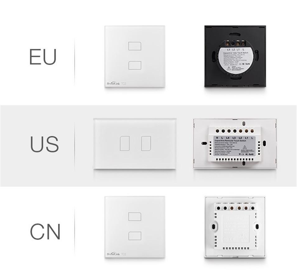 Broadlink EU UK TC2 Wireless 1 2 3 Gang Remote Control Wifi Wall Light Touch Switch 110-240V RF433 Broadlink Rm2 Rm Pro Domotica-5