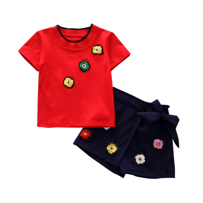 Two-piece New Baby Girls Short-sleeved T-shirt + Flower skirt Making Your Kid Lovely comfortable For Dressing