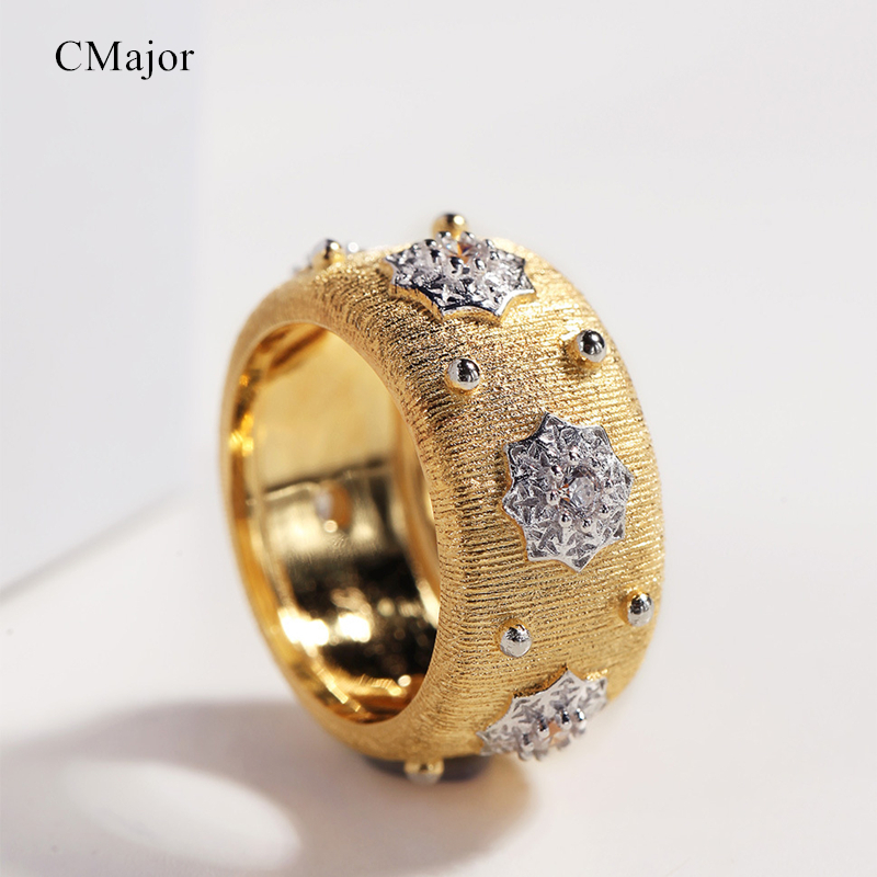 CMajor S925 Gioielli In Argento Glowing Stars Vintage Palace Luxury Gold Colore Anelli Per Le DonneCMajor S925 Gioielli In Argento Glowing Stars Vintage Palace Luxury Gold Colore Anelli Per Le Donne