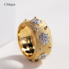 CMajor S925 Silver Jewelry Glowing Stars Vintage Palace Luxury Gold Color Rings For Women
