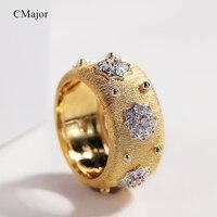 Cmajor S925 Серебряные ювелирные изделия светящиеся звезды Винтаж дворец роскошные золотые Цветные кольца для Для женщин