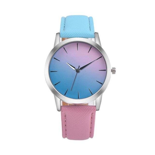 Reloj Mujer Women Fashion Watch Retro Rainbow Design Leather Band Analog Alloy Q