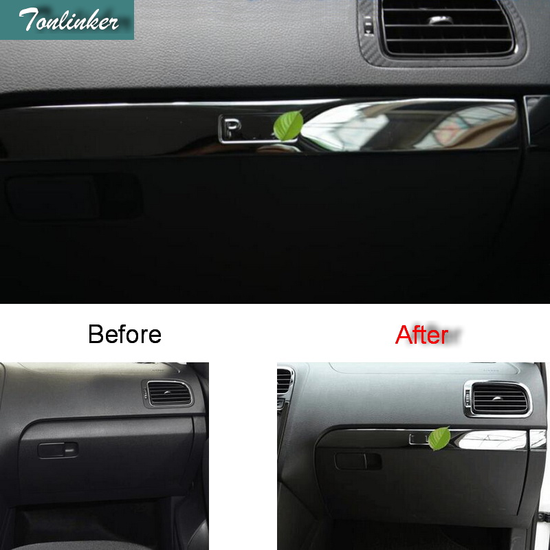 Tonlinker Interior caixa de Luvas acima Da Tampa adesivos Para Volkswagen POLO 2011-16 Car styling 2 PCS tampa do Aço Inoxidável adesivos