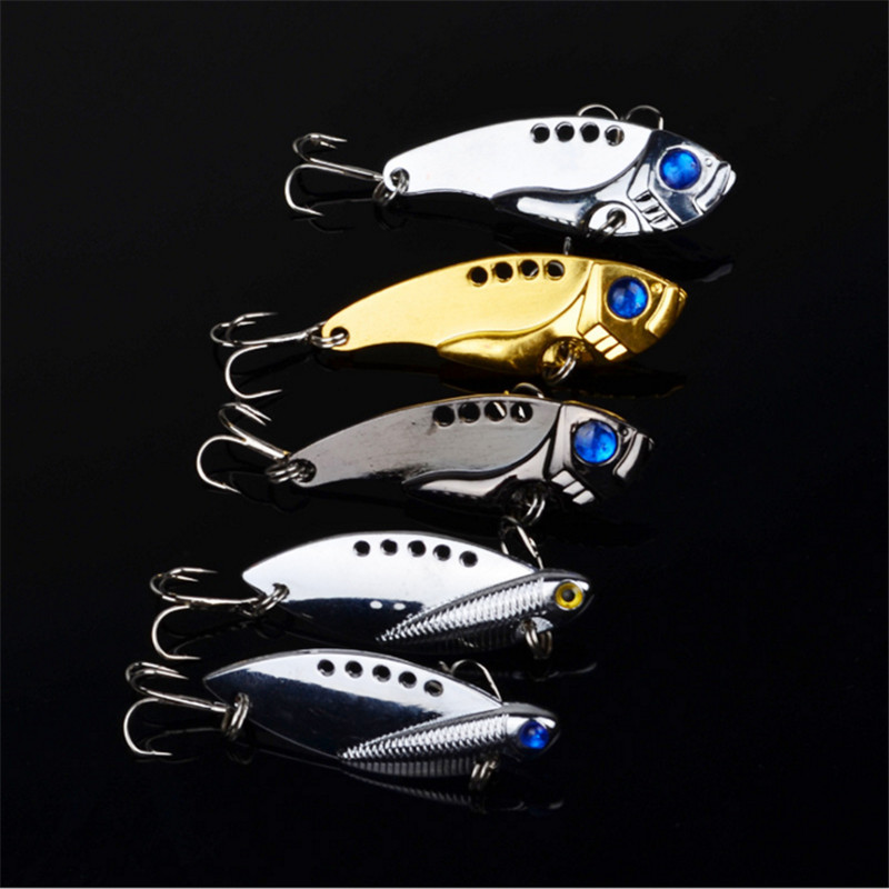 Fishing 1Pcs Metal VIB Lures 5cm 11g vivid Vibrations Spoon Lure Fishing bait Bass Artificial Hard Bait Cicada lure VIB Bait 3D Eyes