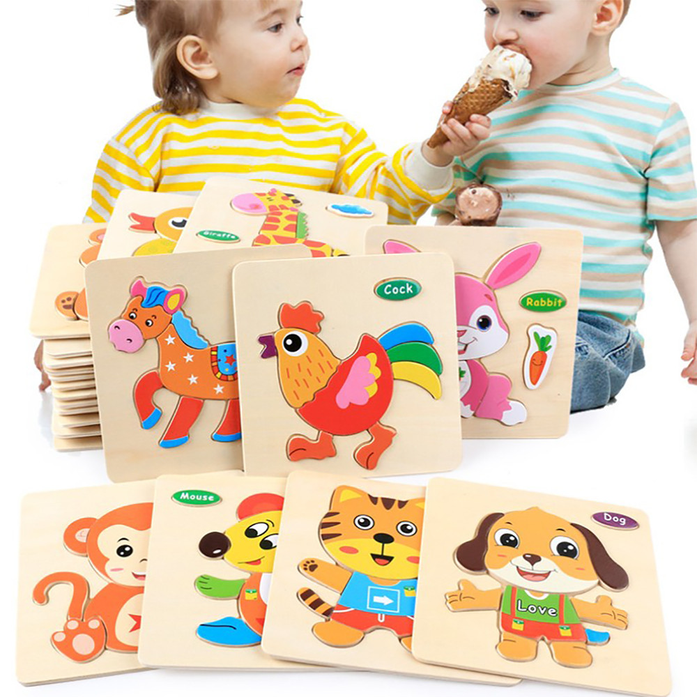 Wooden 3D Puzzle Jigsaw Wooden Toys For Children Cartoon brain teaser Puzzles Intelligence Kids montessori Educational Toy Toys 13 holes wooden toys intelligence box for shape sorter cognitive and matching building sorority eductional toys for children