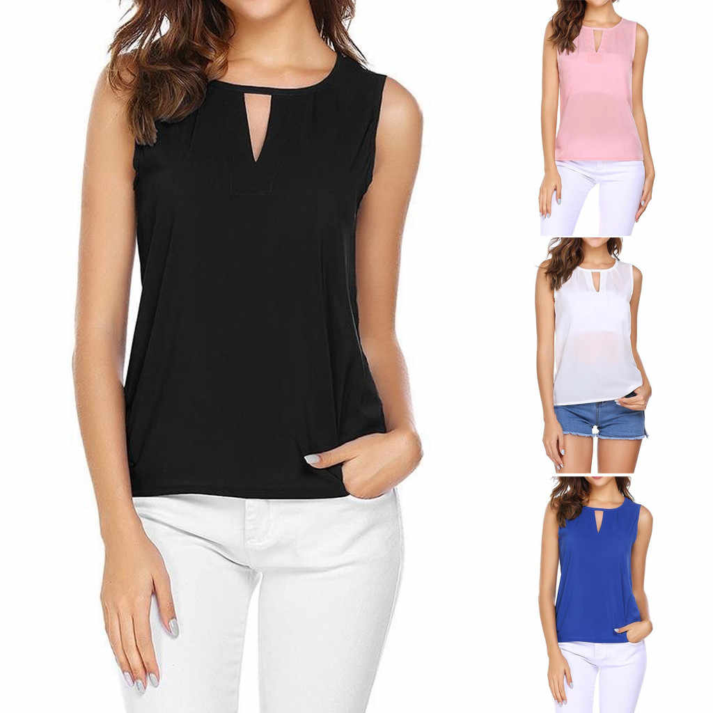 Fashion Women Sexy Solid O-Neck Slim Wild Korean version Hollow Out Sleeveless Casual Crop Tank Top ropa mujer#10