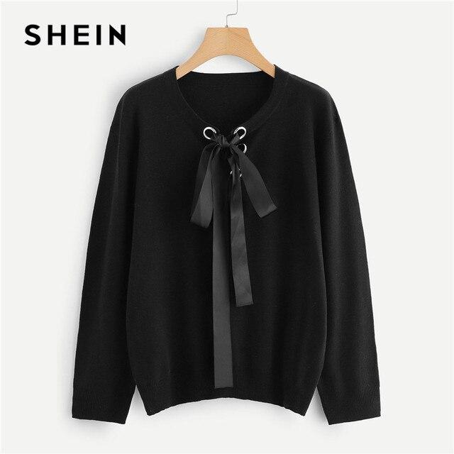 807bd2733f SHEIN Plus Size Black Streetwear Lace Up O Neck Sweater Women 2018 Autumn  Winter Acrylic Knitted