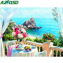 AZQSD Full Square Diamond Painting Scenery Rhinestones Pictures Needlework Embroidery Flowers Handmade Craft Kit