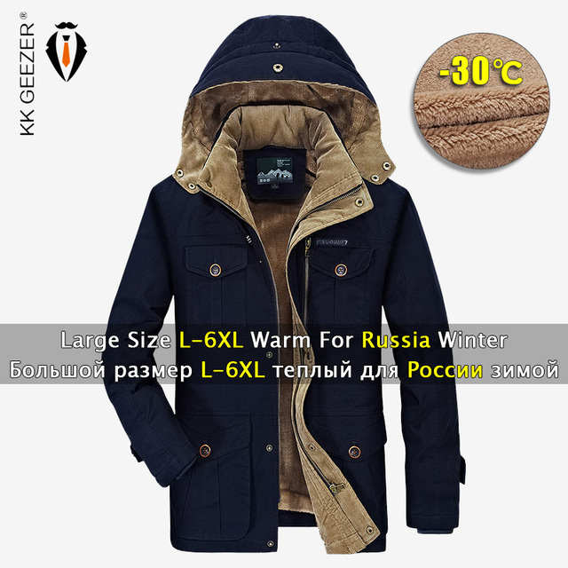 a0967e7ab9d Mens Winter Jackets 5XL 6XL Military Parka Outerwear Warm High Quality  Thick Fleece Cotton Hooded Fashion Casual Coat Khaki 4XL