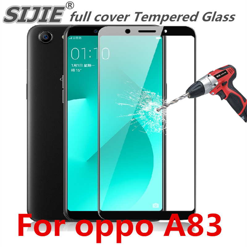 sports shoes 10c46 ce977 full cover Tempered Glass For oppo A83 oppoA83 A 83 Screen protective phone  toughened case covers 9H on frame all edges film-in Phone Screen ...