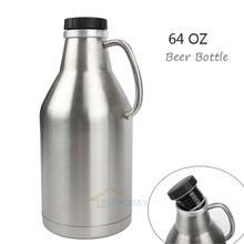 ФОТО 304 Stainless Steel Growler Jug 64oz 2L Beer Bottle With Handle 2 Liter Beer Pot With Black Plastic Lip