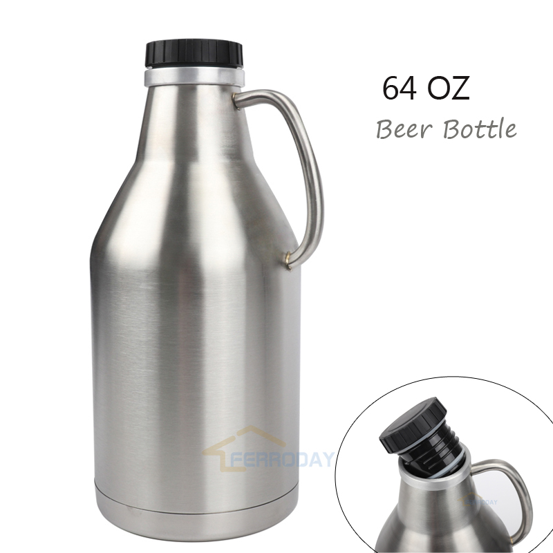 304 Stainless Steel Growler Jug 64oz 2L Beer Bottle With Handle 2 Liter Beer Pot With Black Plastic Lip