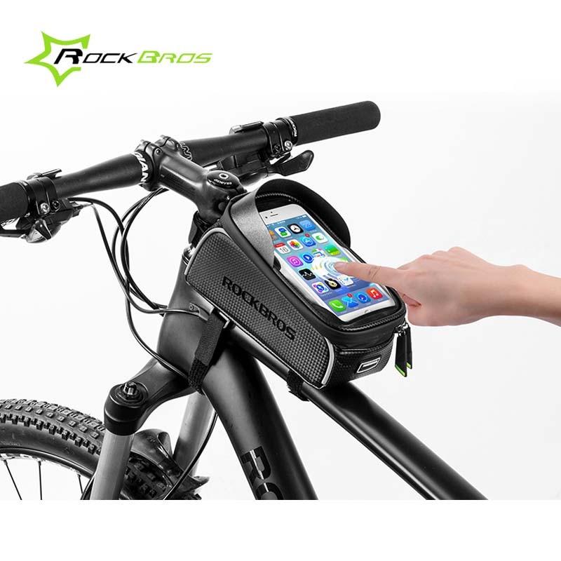 """Rockbros дорожный горный велосипед сумка водостойкая велосипедная Передняя труба рамка сумка 6,0 """"сенсорный экран велосипедная сумка Pannier велос..."""